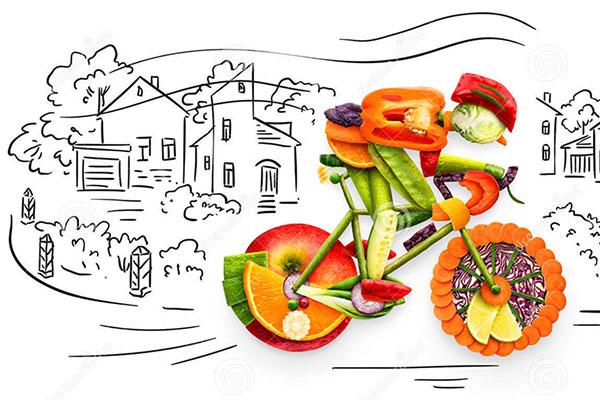 Ciclista hecho con comida